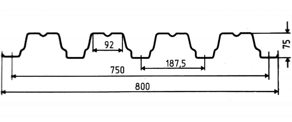 Несущий профнастил Н 75-750