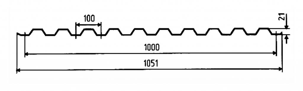 Стеновой профнастил С 21-1000