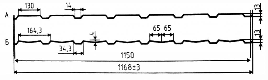 Стеновой профнастил С 13-1150 (А и Б)